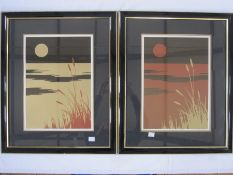 "V. Charlesworth (20th Century) Limited edition print Nos. 339 and 114 of 400 ""Oriental Sunset II"", a"