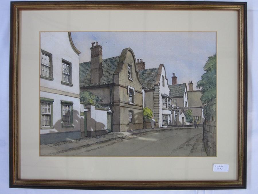 E W Moy (20th century school) Topsham, Devon and Tewkesbury - three village street scenes, - Image 2 of 3