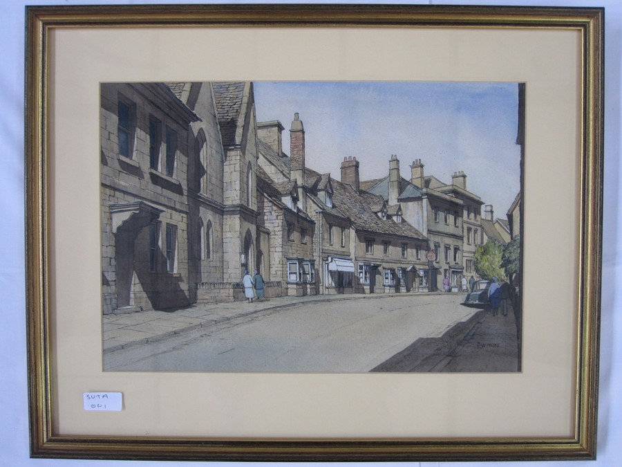 E W Moy (20th century school) Watercolours Two street scenes, possible Winchcombe and a fishing