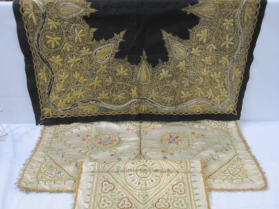 Satin embroidered cloth with gold thread fringe, 76cm x 76cm square (some wear and staining), a