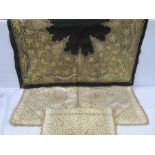 Satin embroidered clothwith gold thread fringe, 76cm x 76cm square (some wear and staining), a