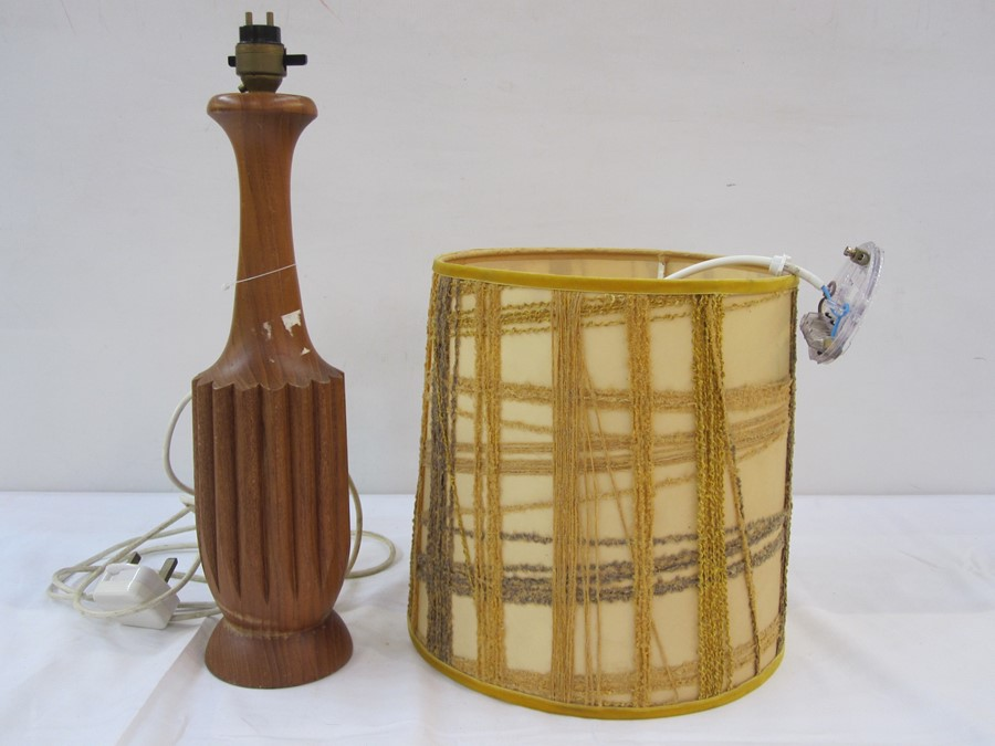 Mid to late 20th century wooden table lamp base, approx 40cm high and an abstract yellow cylindrical