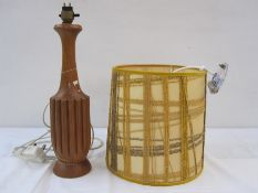 Mid to late 20th century wooden table lamp base, approx40cm high andan abstract yellow cylindrical