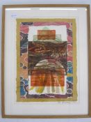 G Fermer (20th century school) Mixed media collage  Signed lower right and dated 1985, 39cm x 29cm