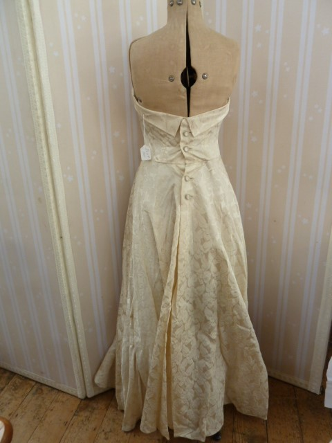1950's brocade evening dress, full skirted, strapless bandeau top, button detail to the back, a - Image 2 of 8