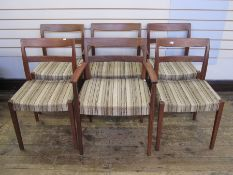Set of six rosewood Swedish Troeds Bjarnum dining chairs with beige brown upholstered seats (two