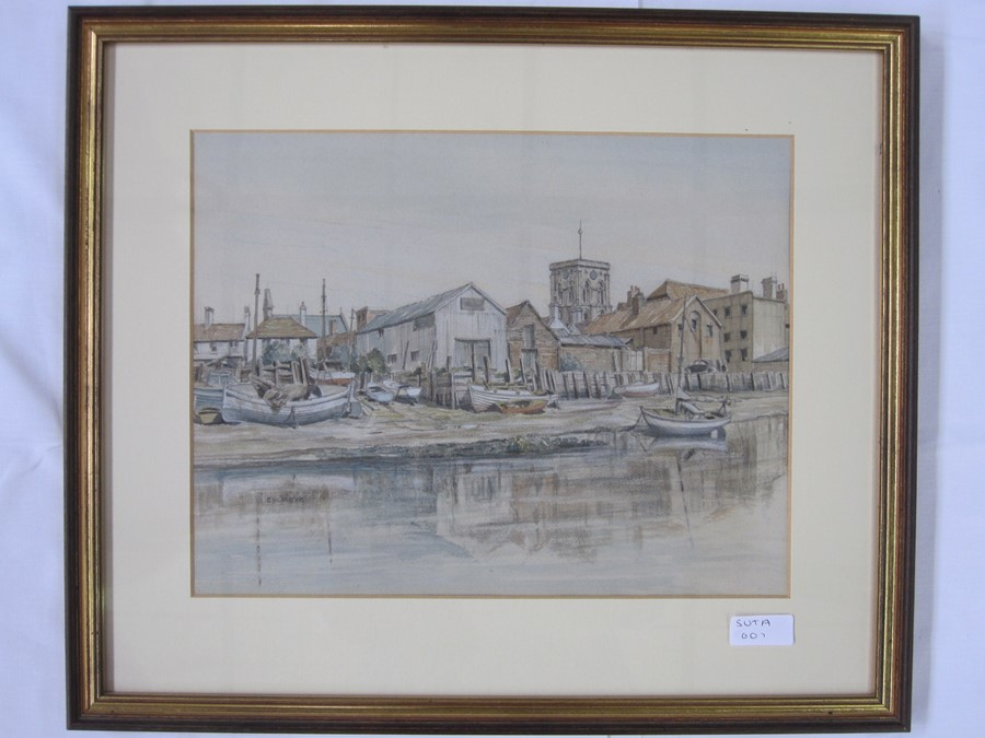 E W Moy (20th century school) Watercolours Two street scenes, possible Winchcombe and a fishing - Image 2 of 3