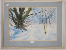 "Gordon Hales Watercolour ""February Snow"", labelled to reverse, 34 x 50cm and"