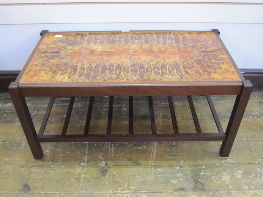 Tile topped rectangular coffee table with undertier, 56cm wide