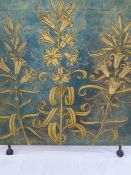 Arts & Crafts/ Aesthetic Movement painting on canvas screen, circa 1880 Three lily sprays in gold