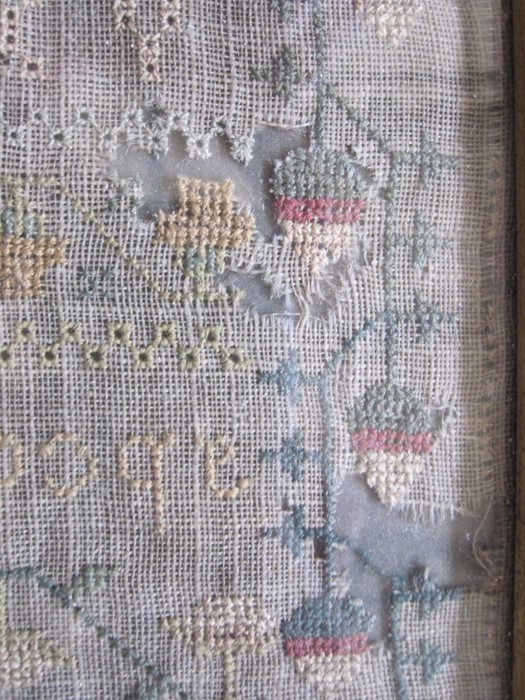 Early 19th century sampler with alphabet, verse, animals and floral border by 'Eliza Daydon, 08', - Image 3 of 8