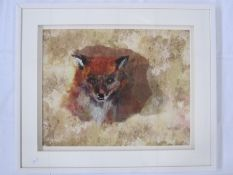 "Barbara Shaw 20th century textile mixed media ""Fox"", 42.5 x 52cm"