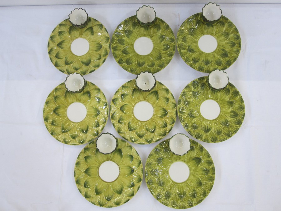 Set of eight Italian Est Ceramiche porcelain artichoke plates, all with dipping bowls and - Image 2 of 3