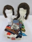 Quantity of vintage scarvesto include Dior, Jean Pierre, Hermes-style, Yves St Laurent, Pierre