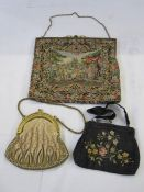 Petitpoint evening bag with fixed frame, gilt and enamelled decoration and Art Deco clasp, a