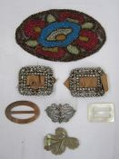 Pair of antique cut steel buckles, rectangular, shaped oval scroll design and two mother-of-pearl