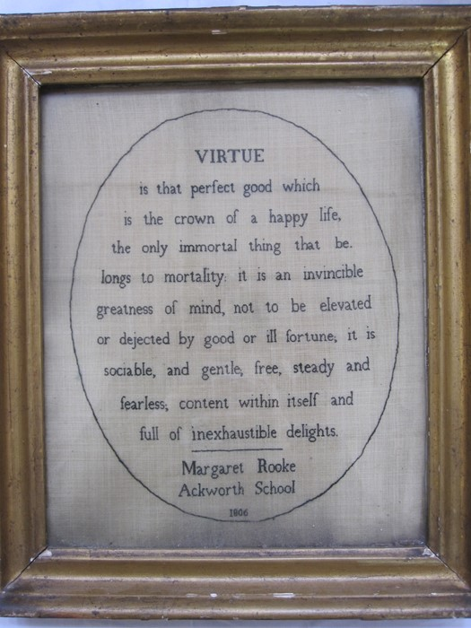 Early 19th century sampler with verse 'Virtue by Margaret Rooke, Ackworth School, 1806', 31cm x 25cm