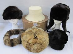 Loro Piana straw sun hat, labelled, size 'small', in original Loro Piana box, a vintage mink hat,
