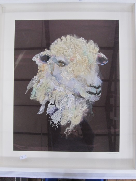 Barbara Shaw 20th century textile mixed media Sheep, signed in pencil lower right, 69 x 59cm approx