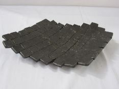 20th century cast iron dish, shaped rectangular with multiple rows of squares, 27 x 24 cms