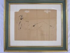 Laila Pullinen (1933-2015) (Finnish)  Pen and ink on paper  Study of reclining female nude, signed