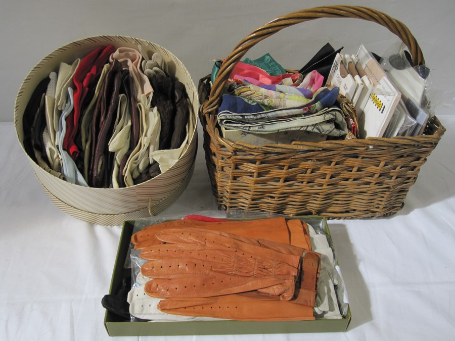 """Assorted vintage silk scarves, various vintage leather and fabric gloves and assorted leather"