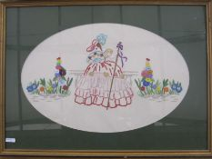Three embroidered pictures, mid 20th century