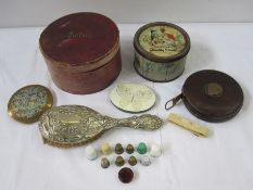 Collar box, a vintage 'Quality Street' small round tin, a plastic folded tape measure, assorted