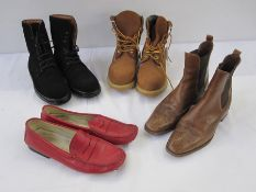 Assorted boots and shoes to include Todds, Ralph Lauren, Chelsea boots, unworn Timberland,