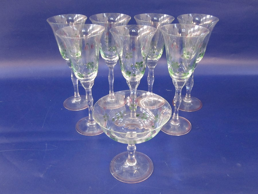 Suite of Orrefors Sweden hand-painted glasses, decorated with purple flowers and green stems, to - Image 3 of 6
