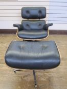 Charles and Ray Eames lounge chair and ottoman, Herman Miller Collection in black leather, unmarked,