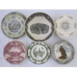 Assorted transfer-printed plates to include Copeland Spode 'MV Blue Nose Ferry Between Bar Harbor,