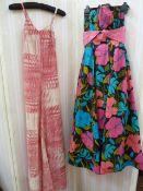 Jean Allen cotton strapless evening gownwith pink pleated cummerbund, spaghetti straps, a mid 70'