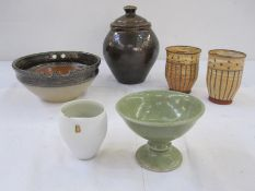 Quantity of studio pottery to include Seth Cardew brown glazed lidded jar, pair of Clare Wratten
