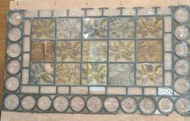 Arts & Crafts Aesthetic-taste stained glass window, set 15 rectangular hand painted floral panes