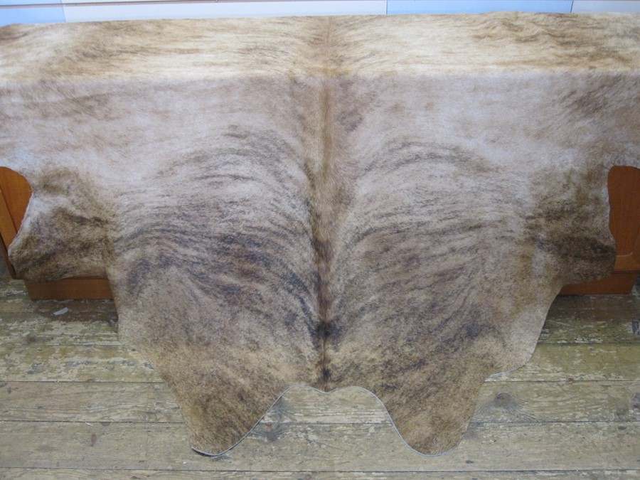 Large cow skin hide throw, mottled tan colour, 197cm x 190cm approx