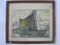 "Mid 20th century school Watercolour ""La Rochelle 15/6/56"", unsigned, titled lower right in pencil to"