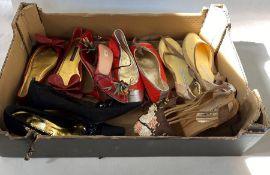 Pair of Prada high-heeled strappy sling-backsmarked 39 and half, pair of Ralph Lauren ballerina