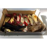 Pair of Prada high-heeled strappy sling-backs marked 39 and half, pair of Ralph Lauren ballerina