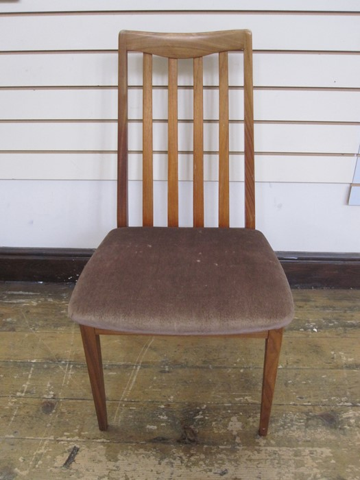 E Gomme for G-Plan set of four teak dining chairswith brown upholstered seats, label to - Image 2 of 2