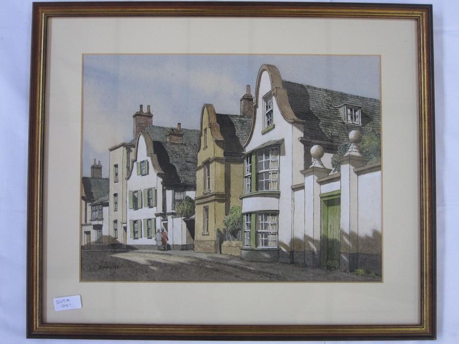 E W Moy (20th century school) Topsham, Devon and Tewkesbury - three village street scenes, - Image 3 of 3