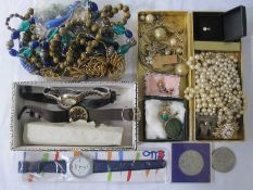 Quantity costume jewellery to include faux-pearls, bead necklaces and watches
