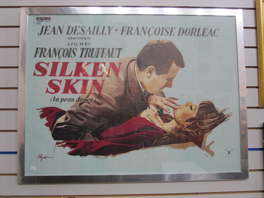 "Colour film poster ""Silken Skin"" , starring Jean Desailly and Francoise Dorleac, directed by"