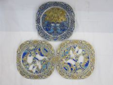 Set of three Rosenthal Bjorn Wimblad limited edition glass Christmas plaques'Limitierte