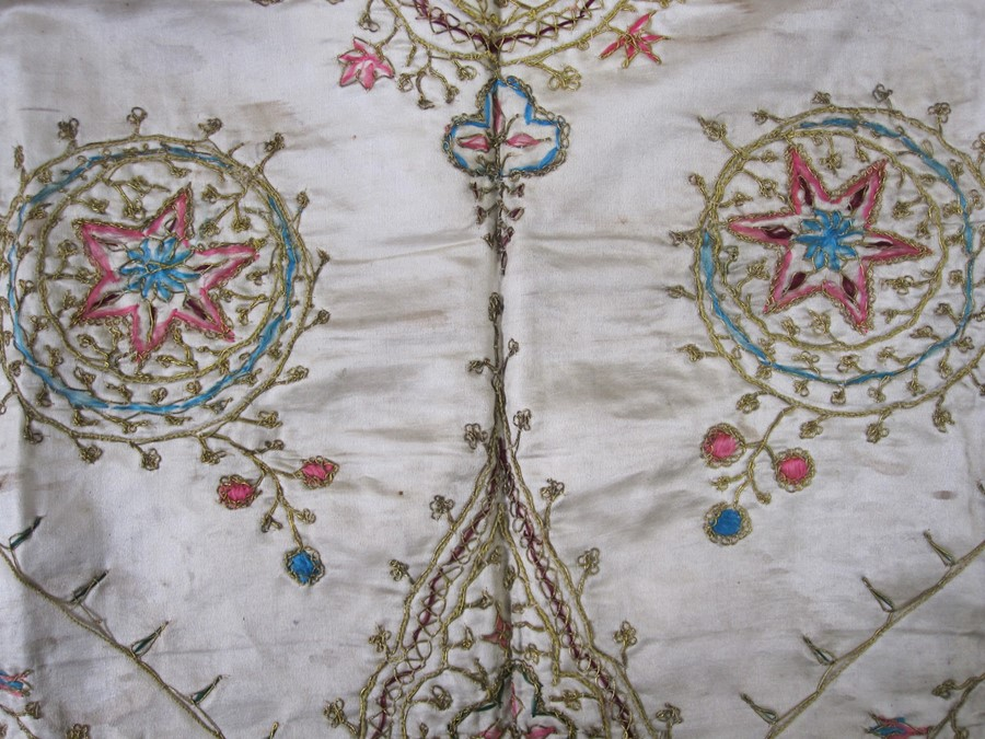 Satin embroidered cloth with gold thread fringe, 76cm x 76cm square (some wear and staining), a - Image 2 of 3