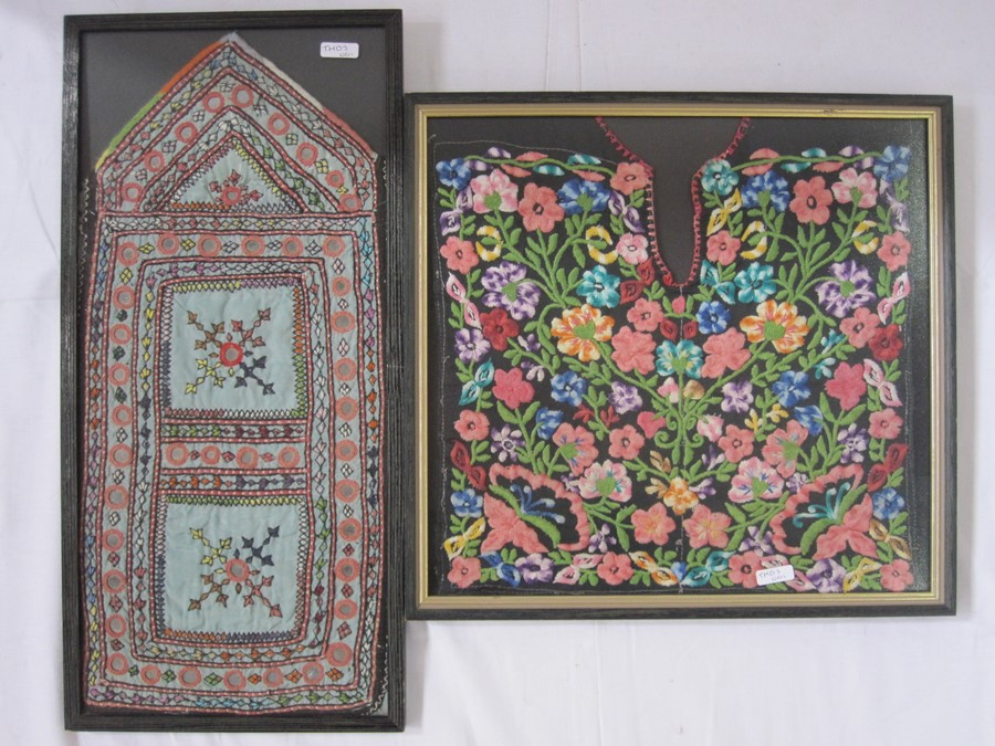 Embroidered Palestinian dress front, framed, a Bedouin dress front, framed, a tribal dress front - Image 2 of 2