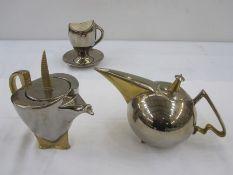 Stoke on Trent Cosmic Design Works part tea and coffee setcomprising teapot, coffee pot, sugar bowl