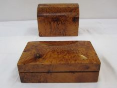 Thuya wooden jewellery box, the domed lid enclosing removable tier, 20cm wide x 15cm high and