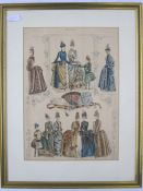 Edwardian colour fashion print showing various bustle dresses, 35cm x 25cm