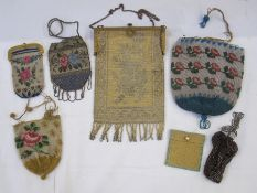 Various Victorian beaded purses, a chain-mail evening bag with gilt-coloured metal frame and gilt
